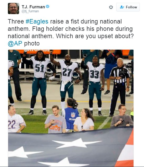 Flag Holder Seen Using Phone During Anthem on MNF(Photos) https://t.co/z8QmyqGrbl https://t.co/NwzUSQNUlK
