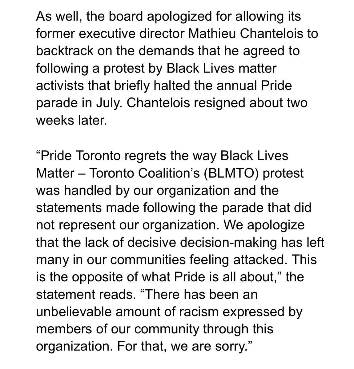 Pride Toronto issues apology for 'history of anti-blackness' https://t.co/NyowYp0H2t #prideto #canqueer #topoli https://t.co/LIIfV7GRkV