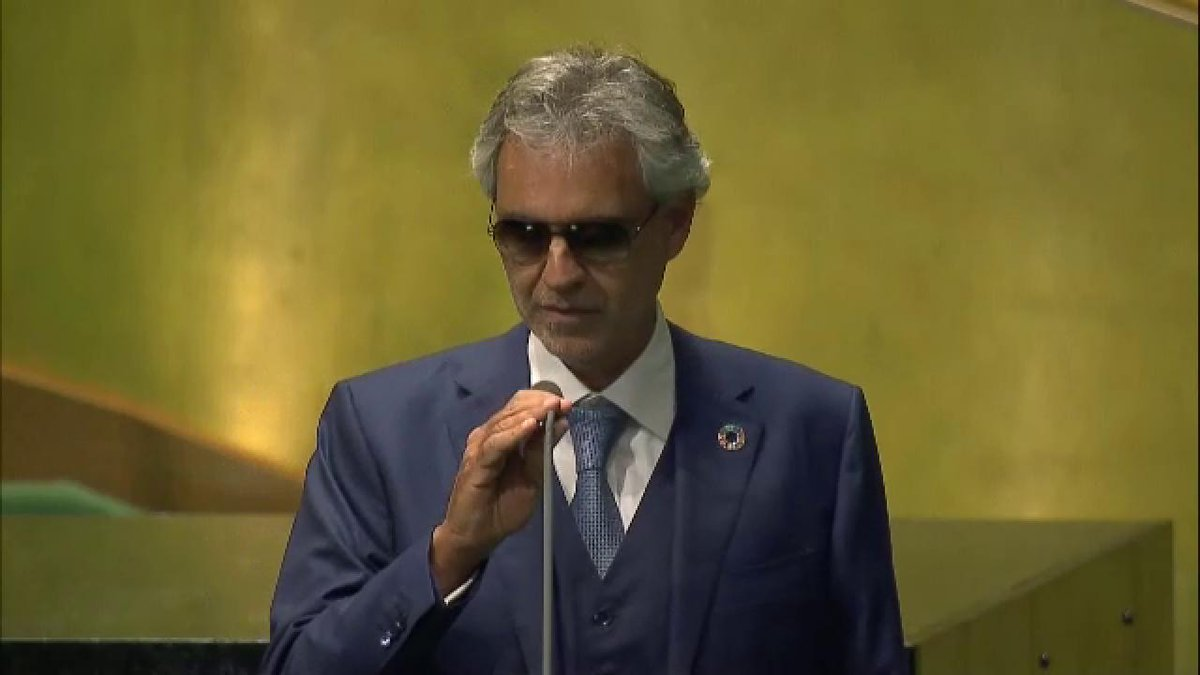 .@AndreaBocelli kicks off #GlobalGoals celebrations & #unga general debate @UN! Watch LIVE → https://t.co/gEh6A2I3Ue https://t.co/n2VYogF9Vy