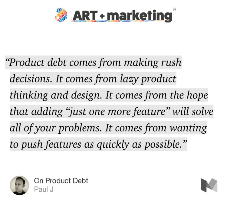 """'Product debt comes from making rush decisions. It comes from lazy…"" — @pivotservices https://t.co/bm1aeyg1Q2 https://t.co/qL1WMEXGI5"