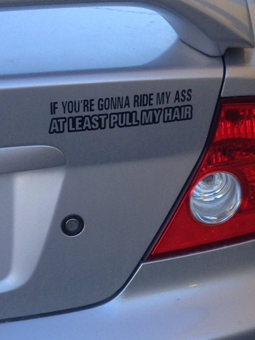 I just saw this car in the parking lot.  BEST decal ever!!  Haha 😂 https://t.co/IEK514imTg