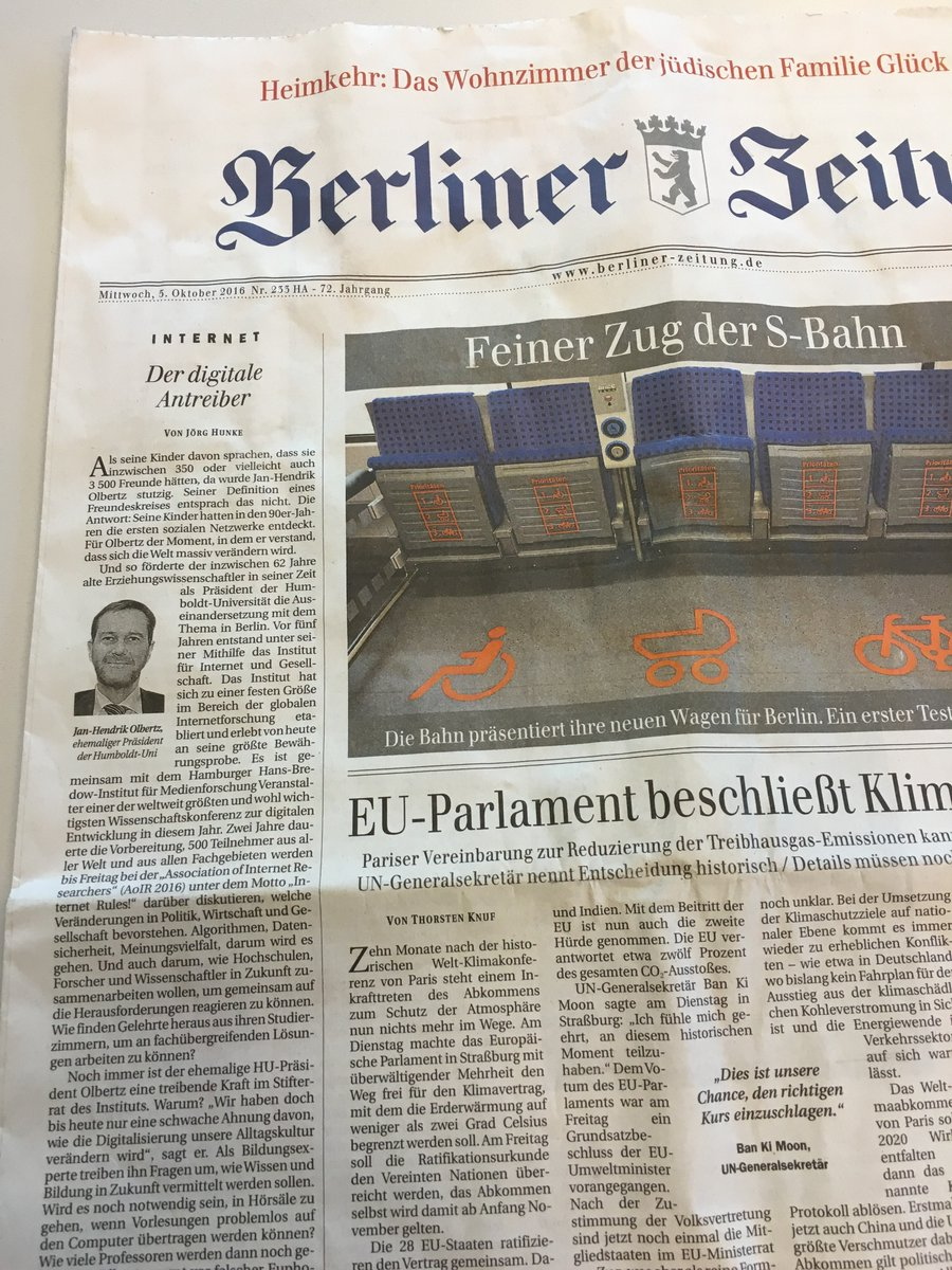 Wow. #AoIR2016 is _literally_ front-page news. In Berlin ! #wow #buythepaper https://t.co/8Wr3fbFFWv