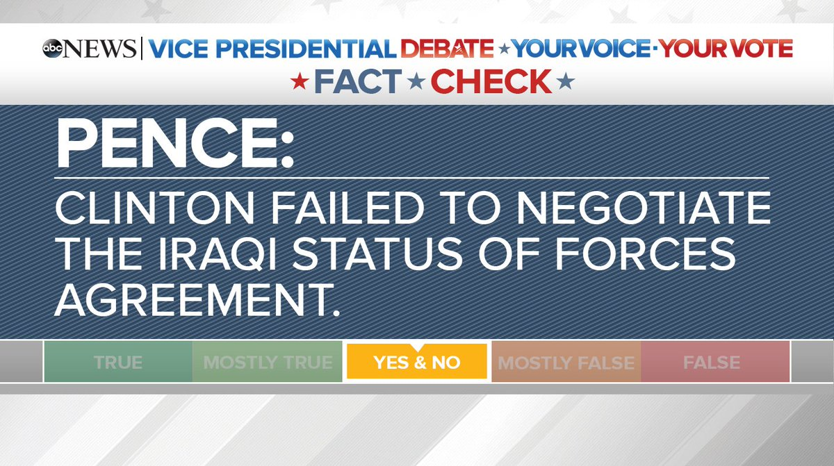 Fact Check Pence Says Clinton Failed To Renegotiate The Iraqi