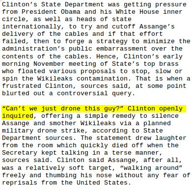 "Hillary Clinton on Assange ""Can't we just drone this guy""  -- report https://t.co/S7tPrl2QCZ https://t.co/qy2EQBa48y"