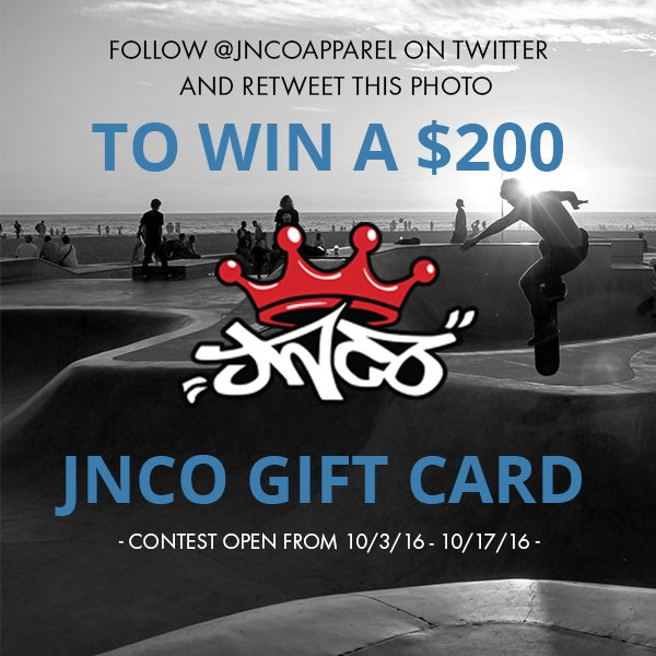 Yes! @JNCOapparel Want to win a $200 JNCO gift card? Follow us and retweet this post for your chance to win! https://t.co/3ZCMnGZirT