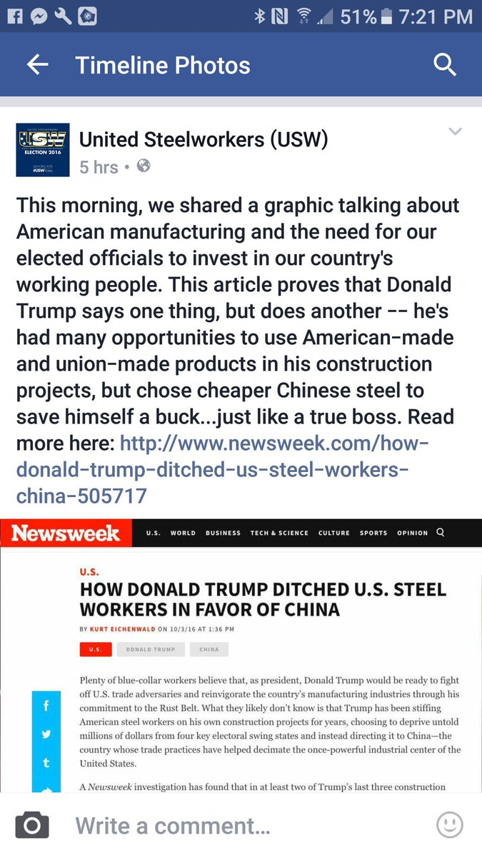 USE, United Steel Workers, are not pleased with Trump https://t.co/vNFEAcXfeH