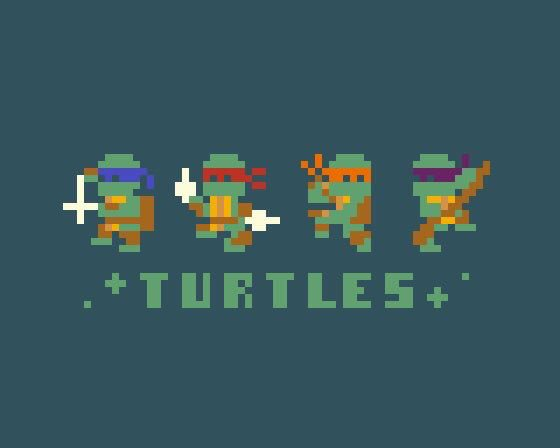 今日のお題「亀」でミュータントタートルズ 9color  #Turtle #pixel_dailies