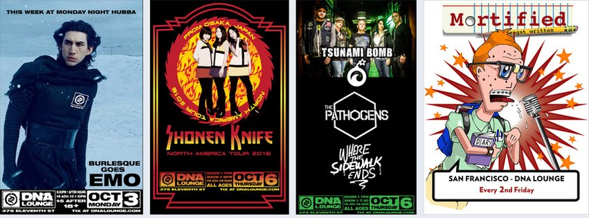THIS WEEK! Mon: Monday Night Hubba; Thu: Shonen Knife; Thu: Tsunami Bomb; Fri: Mortified https://t.co/xViEhjA2PJ https://t.co/tttmOUdcVQ