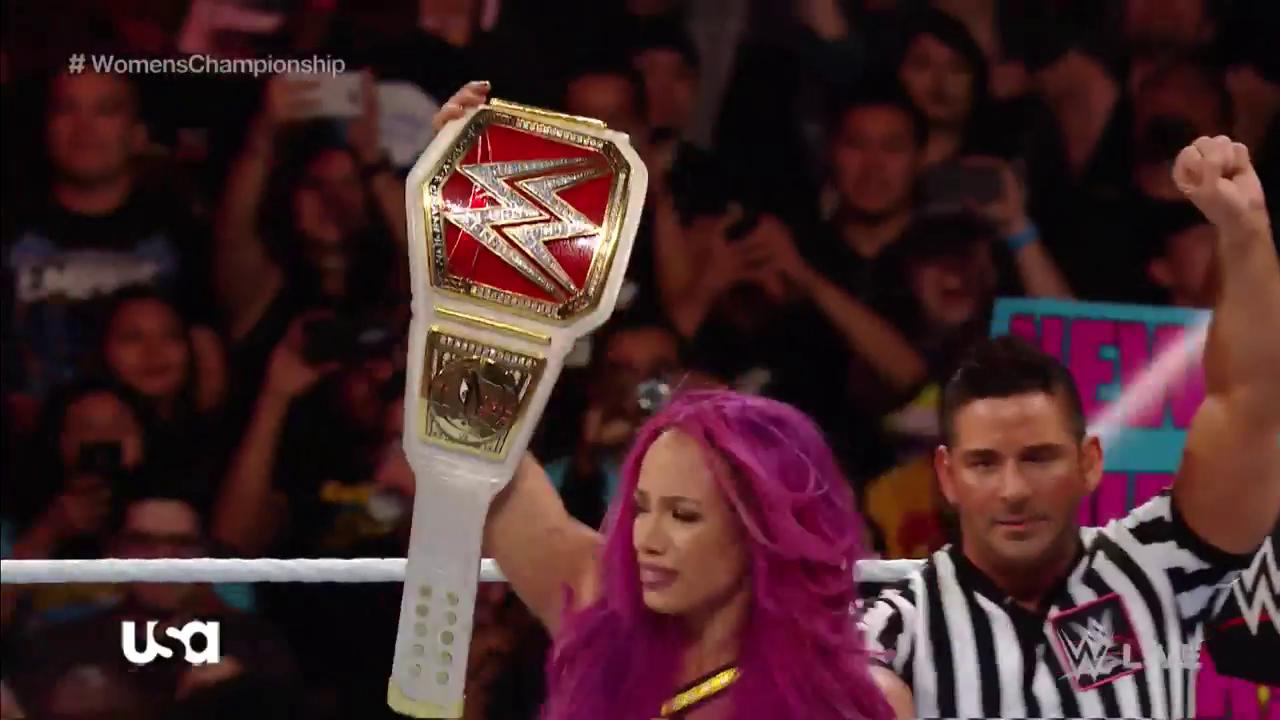 Congratulations to the NEWWW @WWE #RAW Women's Champion @SashaBanksWWE! @MsCharlotteWWE https://t.co/tDqmTjZw5T
