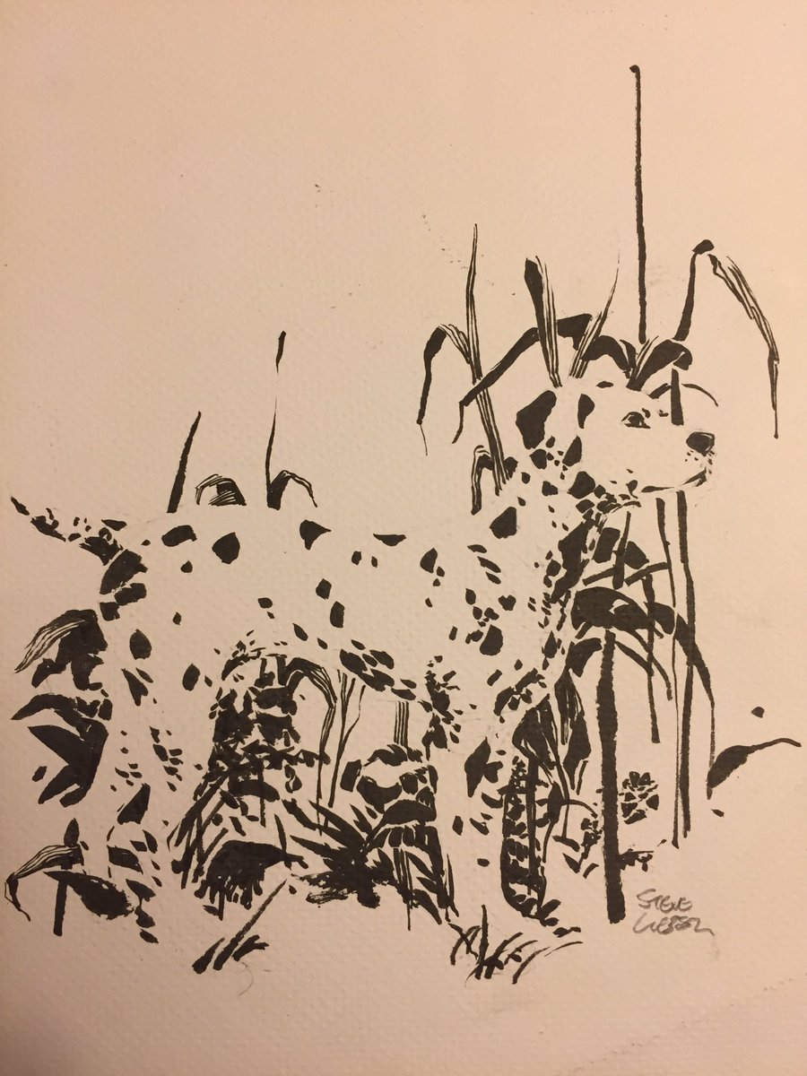 #Dogtober, day 3. No comics connection this time, just a Dalmatian guarding a garden. #inktober. https://t.co/4fhL2aYyTx