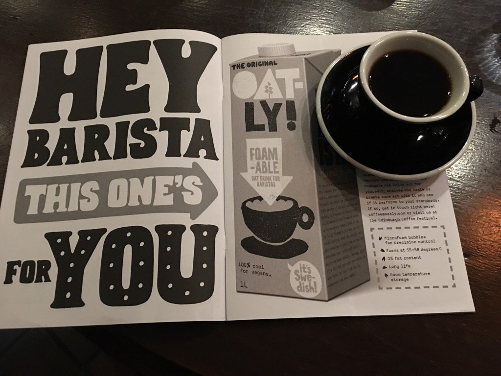 Are any baristas or coffee shops I know using or have tried this @OatlyAB foamabale oat milk? https://t.co/K9TZNBaLok