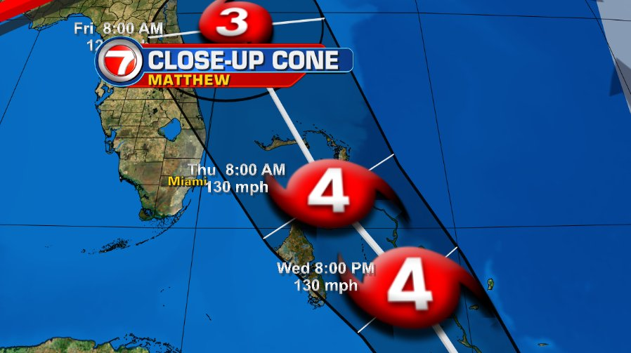 As of the 11 am advisory, Broward & Dade are outside of the cone of concern. @wsvn https://t.co/9mHku2eImo