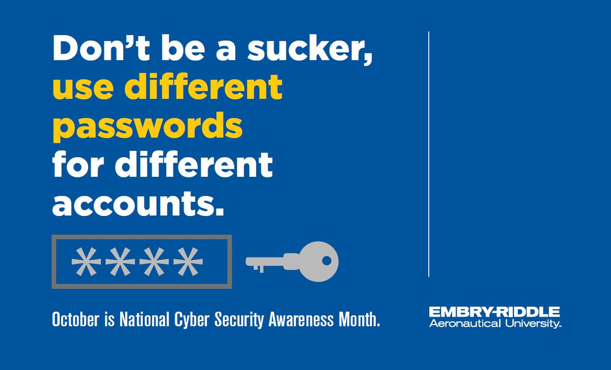 It's National Cyber Security Awareness Month (#NCSAM)! Make sure you're doing what you can to stay secure. https://t.co/elcwiUWxU4