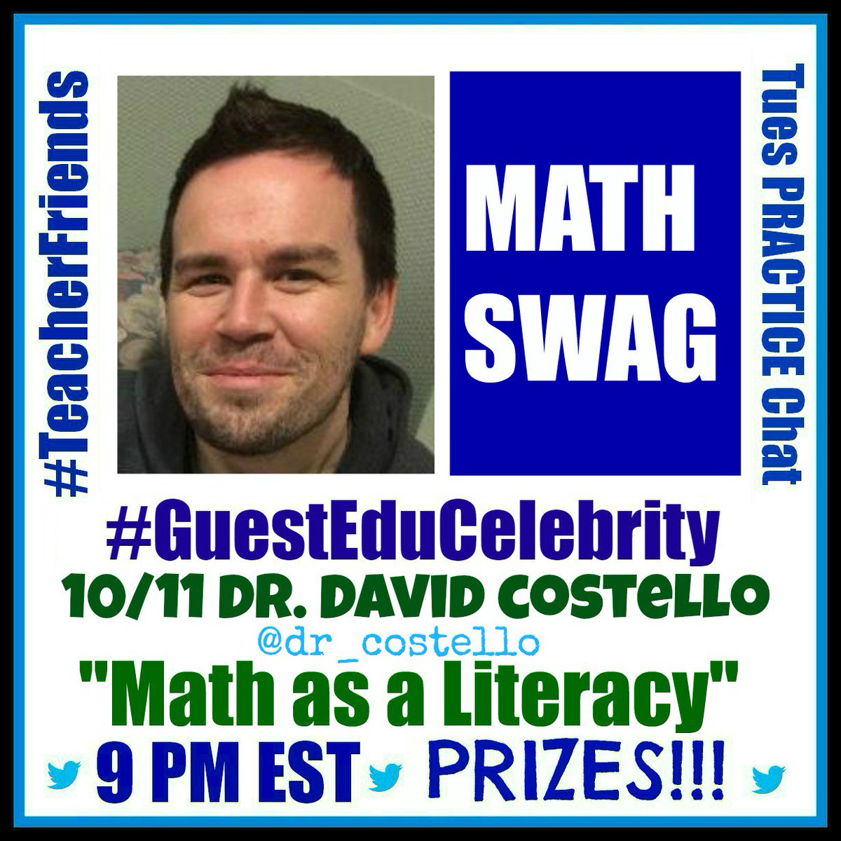 """#TeacherFriends Our topic 10/11 is """"Math as a Literacy"""" w @dr_costello Please Retweet. Bring tweeps. https://t.co/Xy1ERefgmF"""