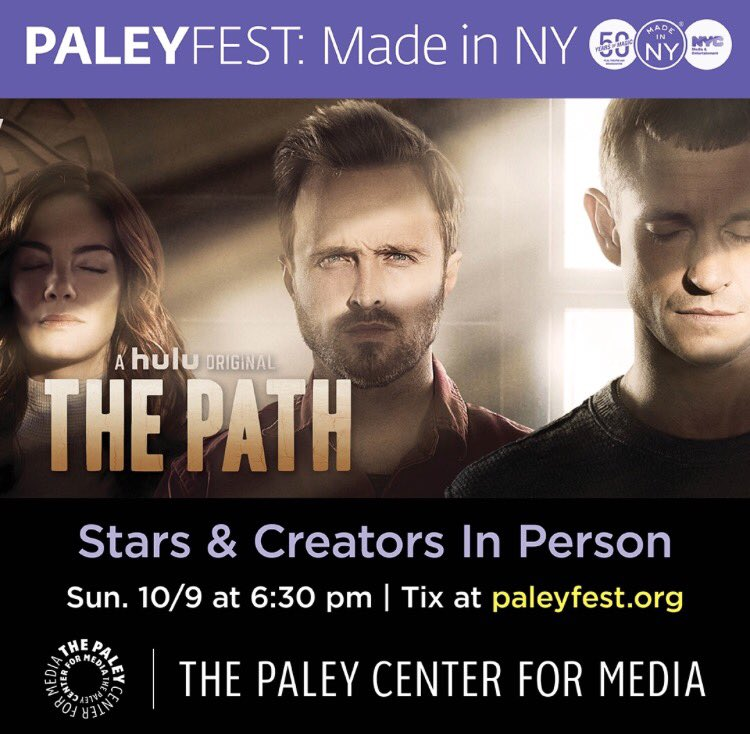 Join me #ThePathOnHulu fans for our #PaleyFest @MadeinNY panel on 10/9. Grab some tickets at https://t.co/wvHqyz6Y1A https://t.co/4aQOaZnyKM