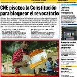 [Portada] CNE pisotea la Constitución para bloquear el revocatorio. #PasaYComenta la portada del semanario: https://t.co/BgbXv7uxt8