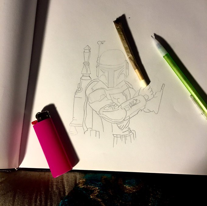 Too worked up for @lifeisbeautiful tomorrow, gotta distract myself with doodles & dank :P #BobaFett https://t