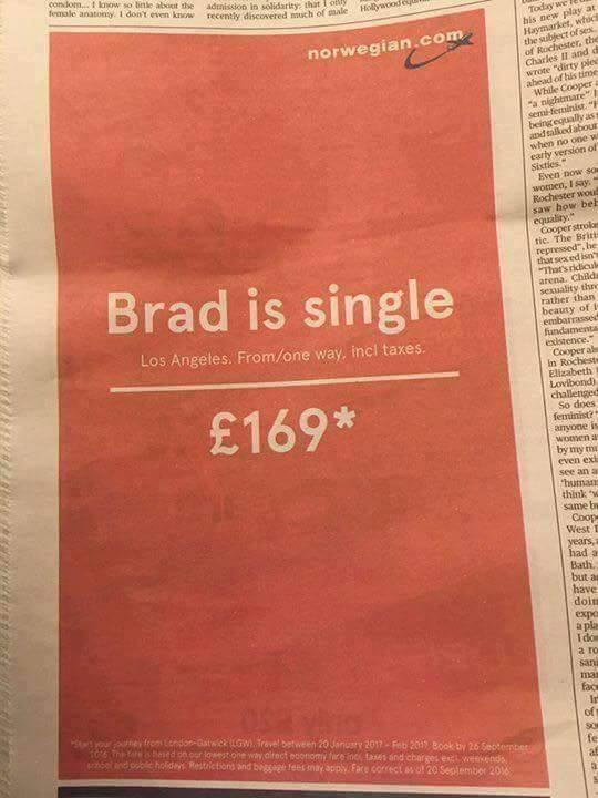 Brad is single. #advertising @Fly_Norwegian https://t.co/b4RZ67VMkC