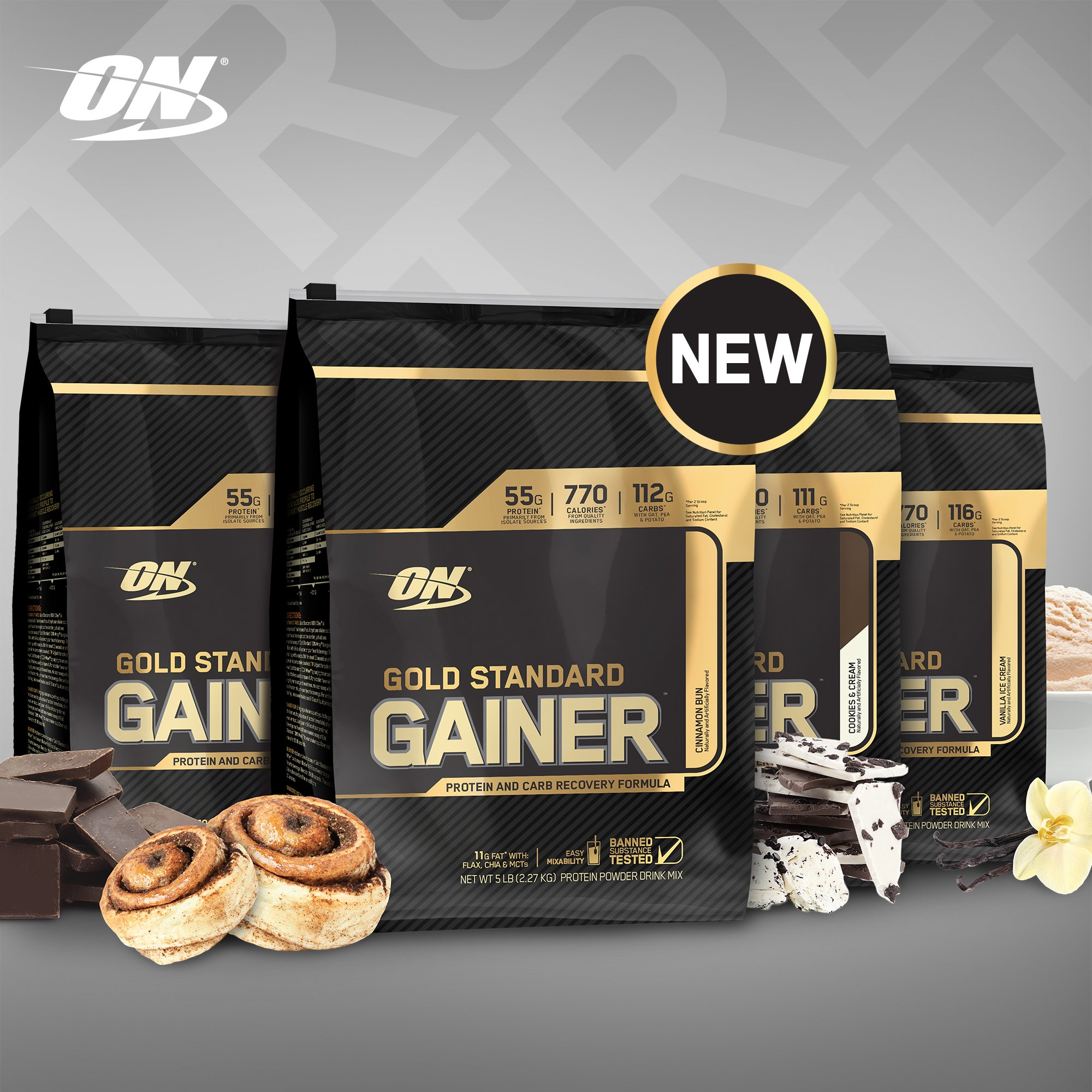Introducing the #GoldStandard Gainer, with superior mixability, 55 grams of protein and 760 calories that count. https://t.co/1hgVrlMTxv