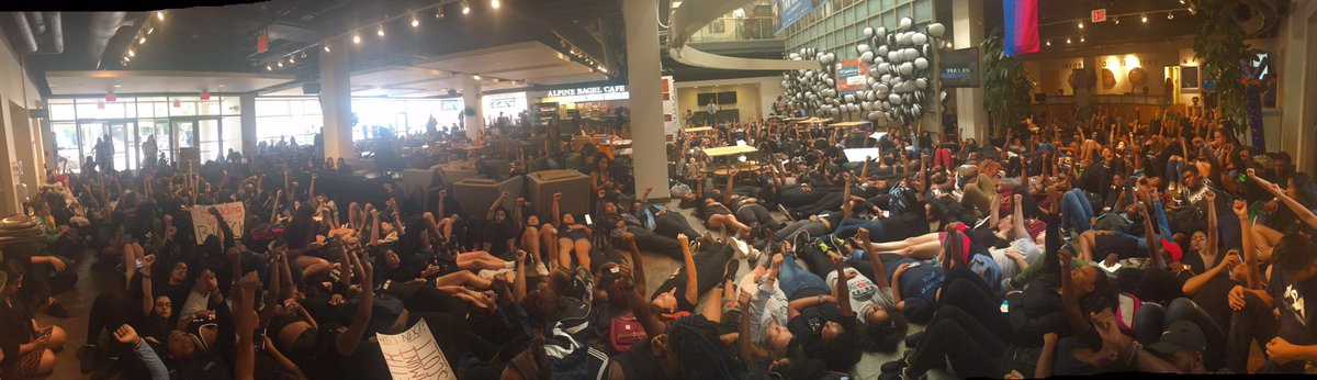Image from today's die-in at the Student Union in response to police brutality: https://t.co/yNA0dllypb