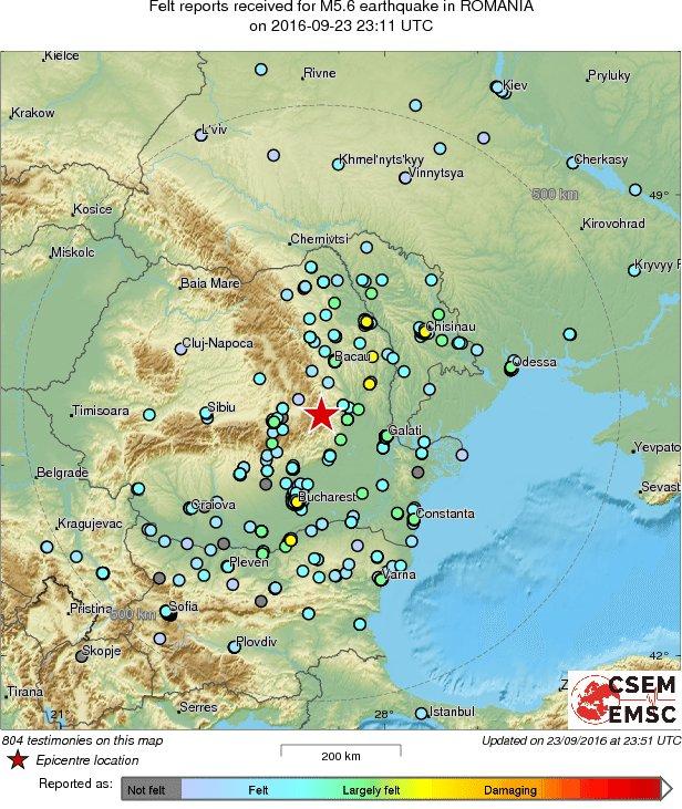 Map of the testimonies received so far following the #earthquake M5.6 in Romania 40 min ago