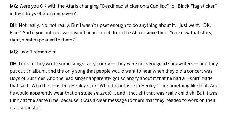 Amazing/hilarious snippet from this new Don Henley interview. https://t.co/Q8J90wcLGE https://t.co/zdNmlMUTYo