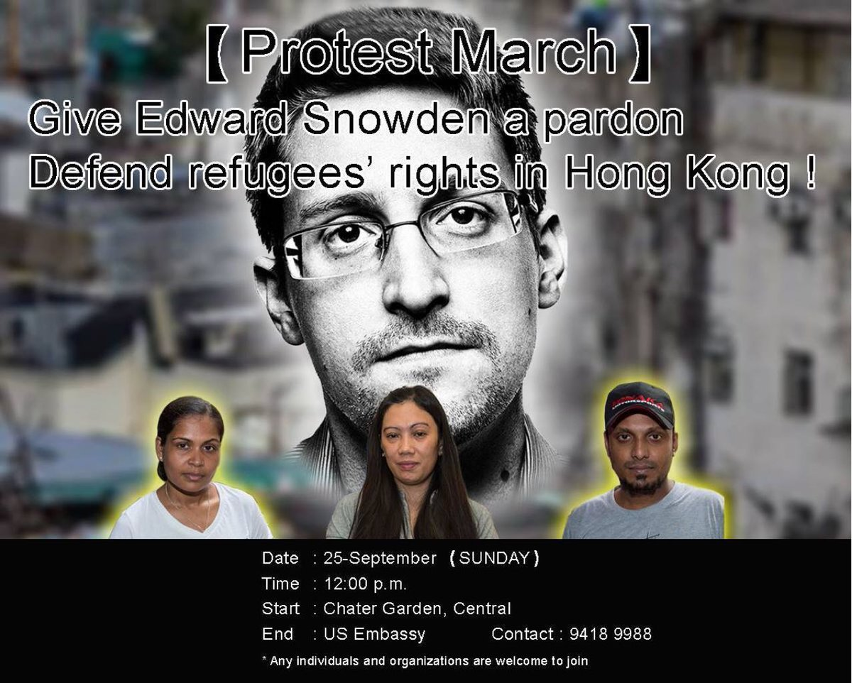 This Sunday there's gonna be a march in Hong Kong in support of the 8 refugees who helped @Snowden... https://t.co/h67Tc2DSBf