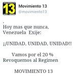 Contra la Dictatura ¡¡UNIDAD, UNIDAD, UNIDAD!!           Vamos por el 20%  https://t.co/TGcdhKnszZ