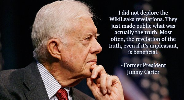 President Carter supports WikiLeaks. Do you? [tax deductable in the US & EU] https://t.co/MsNZhrBYvb