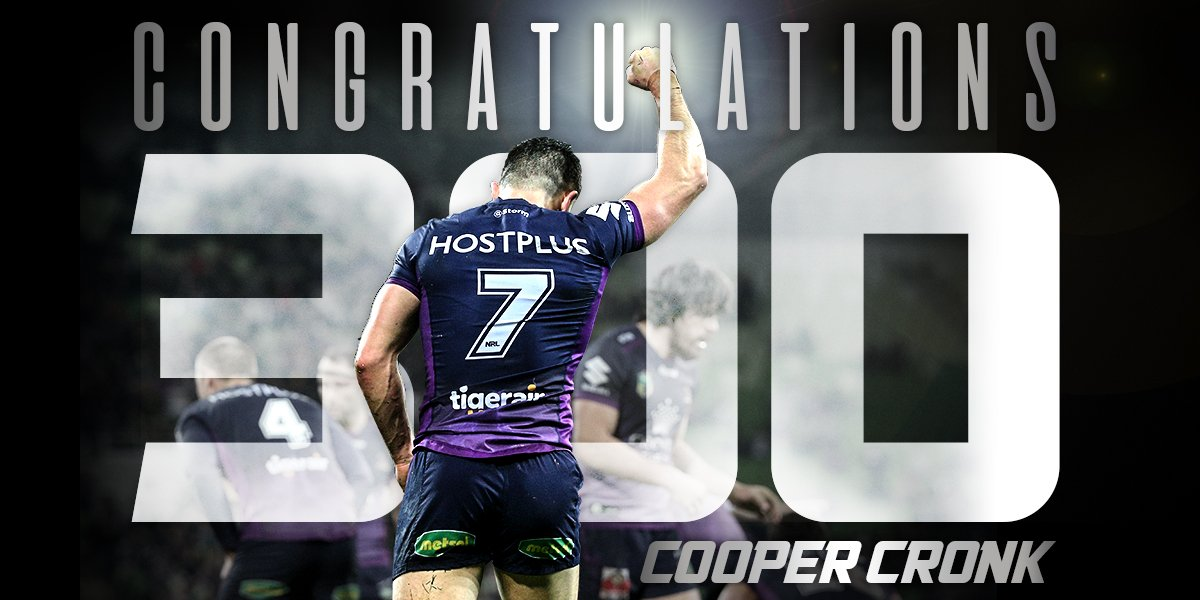 Congratulations to a legend #Cronk300 #NRLFinals https://t.co/x1LubunTAj