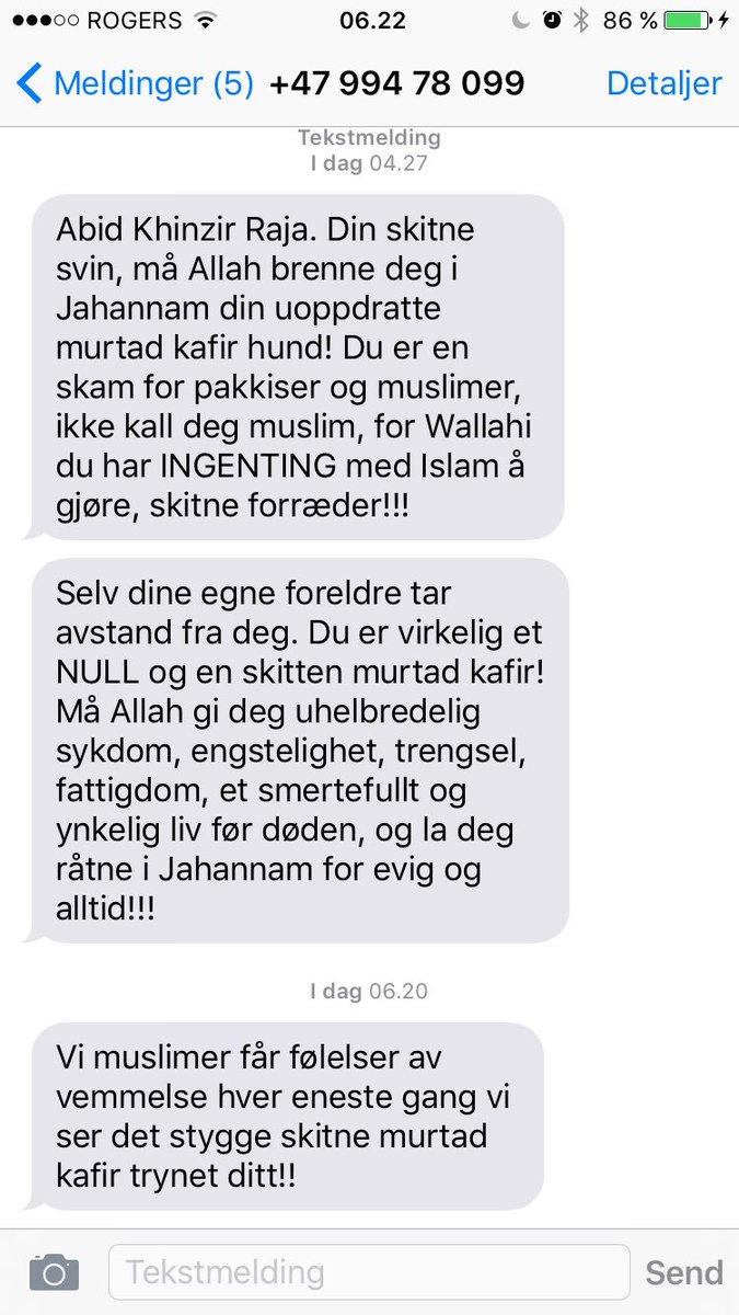 Våkna nå i Canada med slik hyggelig melding på min mobil. Kanonfølelse! Enkelte muslimer kan få sagt det. https://t.co/i6NdGXxHWi