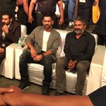 Two icons .. @msdhoni and @ssrajamouli .. at the Telugu audio launch of  #DhoniUntoldStory in Hyderabad 😀 https://t.co/vBUynJDjJZ
