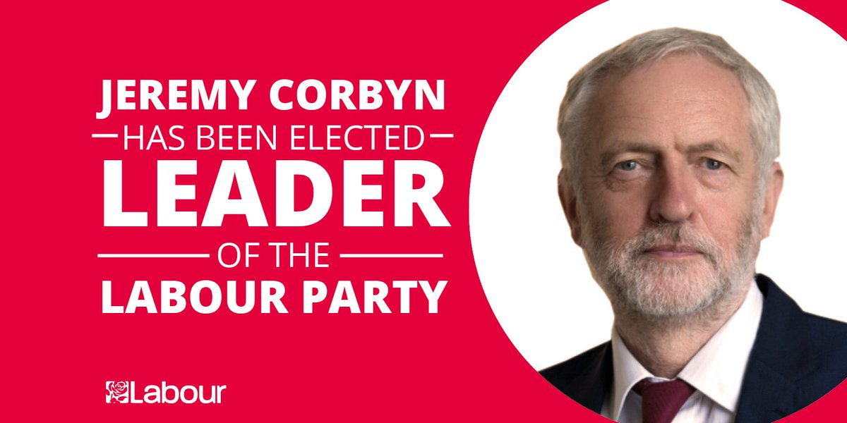 JUST ANNOUNCED: @jeremycorbyn has been elected leader of the Labour Party #Lab16 https://t.co/lAlTES1jYV