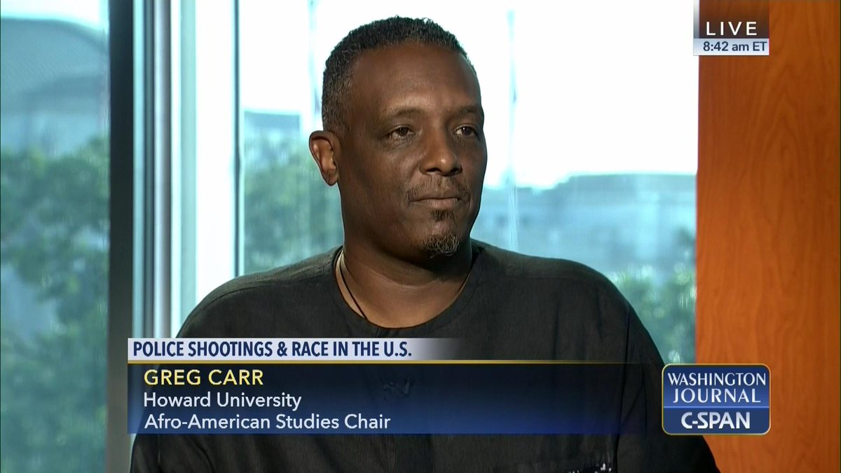 .@HowardU Afro-American Studies Chair @AfricanaCarr joins us to discuss #policeshootings & race in the U.S. https://t.co/ehh1jIwGm9
