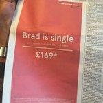 「ブラッド(ピット)が独身になったよ。さあ、いまなら彼が住んでるロスまで片道たった£169!」。ノルウェーエアの新聞広告がタイムリー&天才的! https://t.co/RK1MX2Q1KF https://t.co/6D0IChhC83
