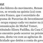 Renan do MBL se reunindo com Moreira Franco. Eu estava correto quando disse que o MBL é a versão yuppie do Sarney. https://t.co/d7n29VIjQA
