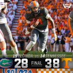 PARTY ON ROCKY TOP! Tennessee breaks Floridas 11-year win streak with a huge 38-28 win! https://t.co/RpeFJfduOo