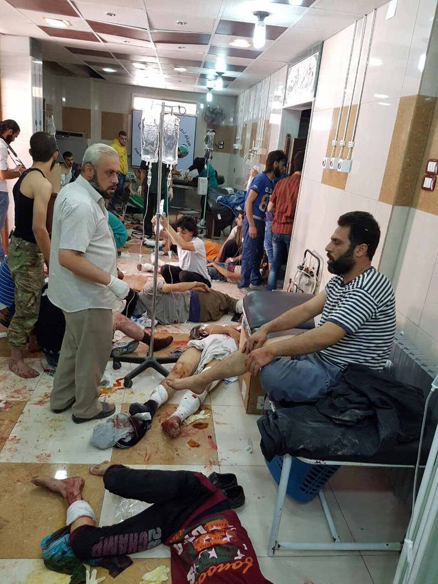 Doctors: 92 killed in the bombing of Aleppo so far today. Hospitals are overflowing with injured people on the floor https://t.co/LtSrUHzBCJ