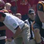 WATCH: Joel Lanning knocked Matt Campbell to the ground today. Oops: https://t.co/0XEkIZVk8J https://t.co/LRSo3TcWUt