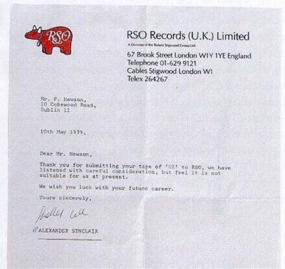 """We wish you luck with your future career."" —1979 rejection letter to @U2 https://t.co/RQpdj5WSb0"