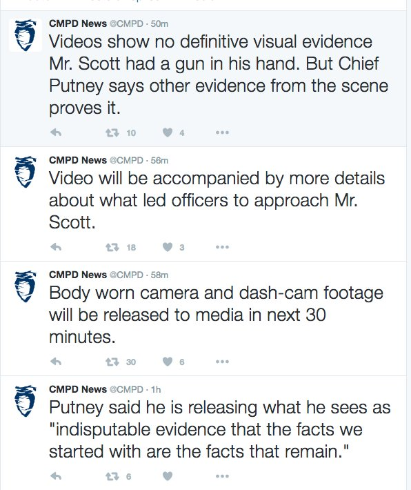 Charlotte PD has deleted all the tweets they sent today about the #KeithLamontScott shooting video release