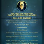 Call for entries for the 2nd UST National Campus Journalism Awards. Details: https://t.co/Ab10cmA6sm https://t.co/IxbLCN52Se
