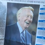 Vin Scully asked me before the game if I could get extra copies of todays Daily News.his family so loved the shot @HansGutknecht captured. https://t.co/7X6ro0tAC9