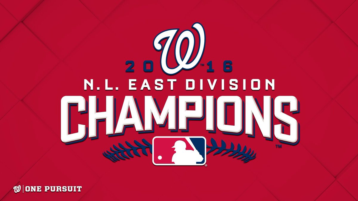 For the 3rd time in 5 years, your Washington Nationals are NL East champions. #OnePursuit https://t.co/rh2oPmmVqM