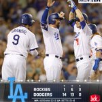That's a wrap! The #Dodgers defeat the Rockies 14-1 tonight behind 7 strong innings from @ClaytonKersh22. #WeLoveLA https://t.co/O2LevcHJRb