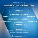 Aliñación d #osnosos para o #AtletiDépor da 6ª xornada de @LaLiga ás 16:15 h. no Vicente Calderón https://t.co/BT5dcggozY