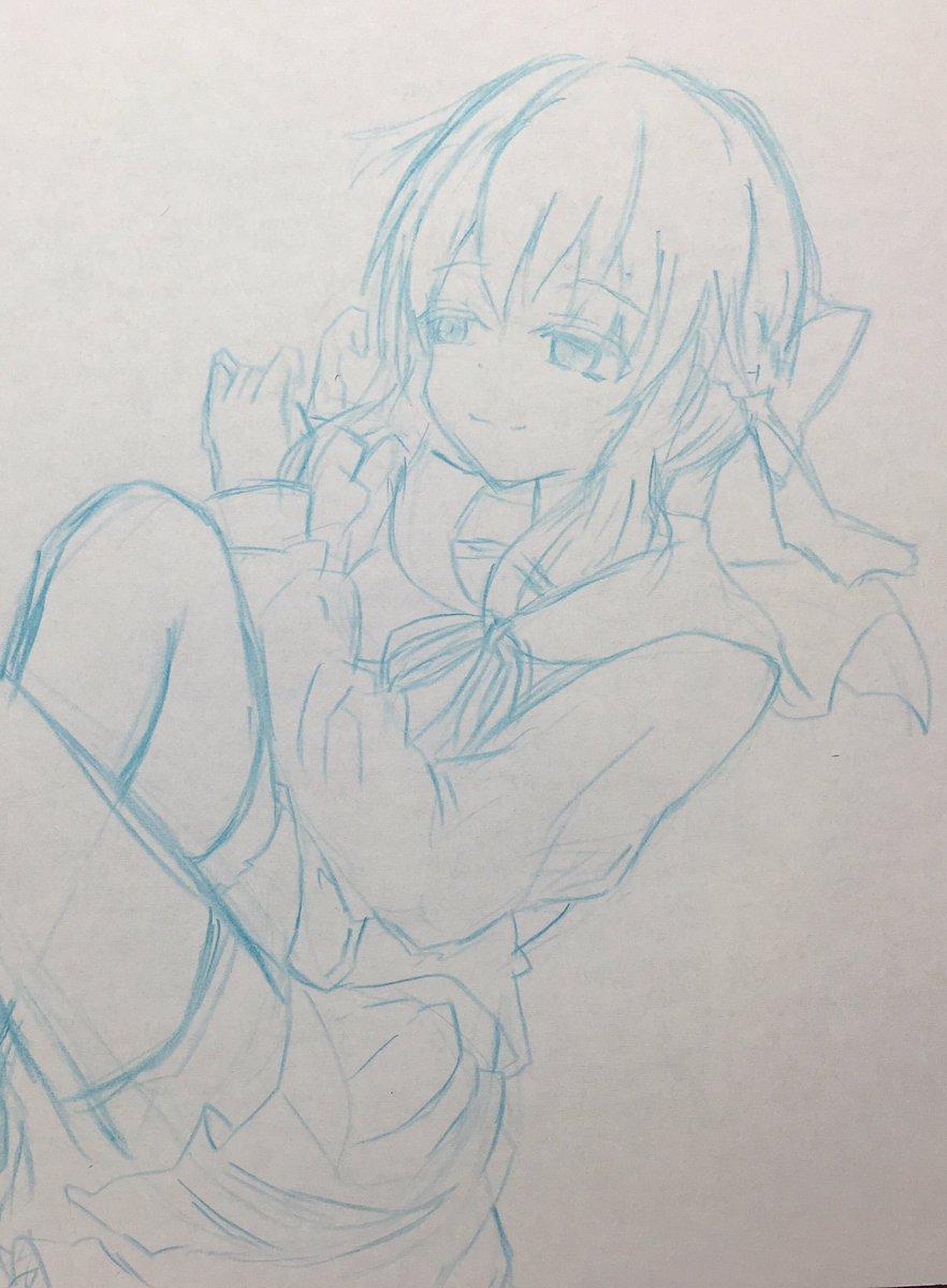 もはやラフも下書きも変わんないくらいラフ描いたやつです笑真昼お姉ちゃんポーズです!#終わりのセラフ#柊シノア#描いてみた