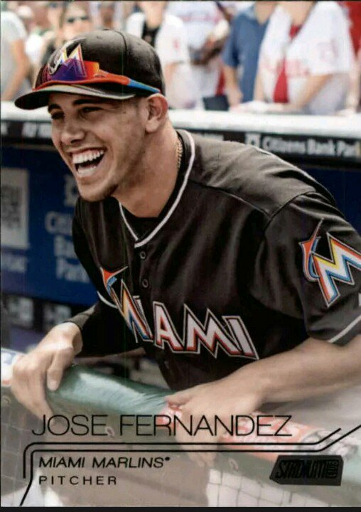 I picked this image for Jose Fernandez's baseball card in 2015 because it made my heart happy to see that smile. https://t.co/etg0B4bS6A