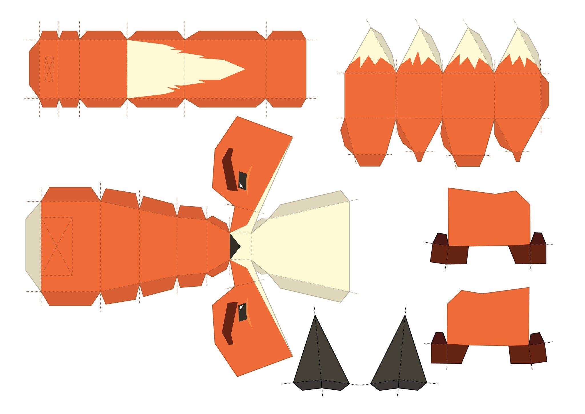Паперкрафт схемы маска лисы 69
