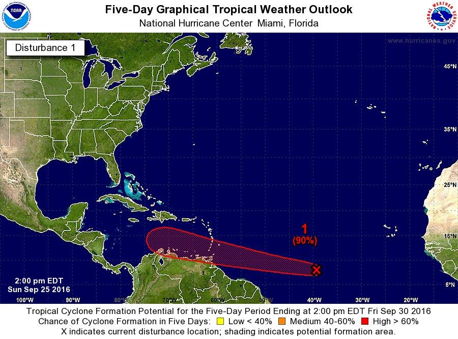 Onda tropical en el Atlántico ya con 90% de probabilidad de convertirse en ciclón tropical! Estén atentos! https://t.co/r5rWawSv0S